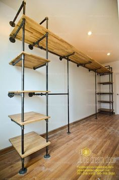 Office Shelving Ideas Built with Industrial Pipe - Rohrmöbel - Shelves Industrial Pipe Shelves, Industrial Interior Design, Industrial House, Pipe Shelving, Industrial Closet, Industrial Office Desk, Diy Pipe Shelves, Industrial Style, Master Closet