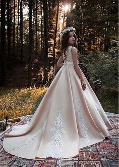 Buy discount Stunning Satin Scoop Neckline Floor-length Ball Gown Flower Girl Dresses With Lace Appliques & Beadings & Belt at Dressilyme.com