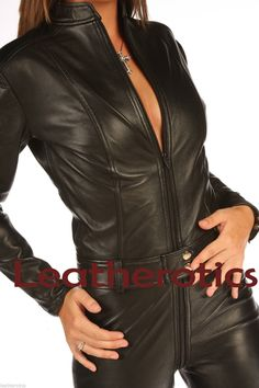 Gene LEATHER catsuit dress Jumpsuit playsuit all in one dress 4 6 8 10 12 14 16 | eBay