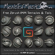 ArtStation - XMD ZBrush IMM Curve Brushes - Monster Mash Tentacle and Tail Set, Michael Dunnam