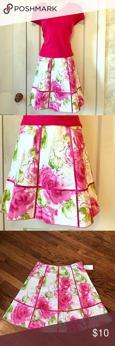 """NWT Pink Floral Flared Skirt NWT bright pink floral flared skirt. Trimmed with pink satin ribbon. 97% cotton, 3% spandex. Length is 29"""". Size M. So cute for spring and summer! Zero Zero Skirts"""