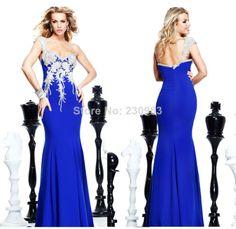 Stunning One Shoulder Beaded Royal Blue Long Mermaid Evening Dresses 2014 Cheap Tarik Ediz Prom Party Gowns Free Shipping $148.00