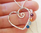 Mothers Necklace with Custom Child Birthstones, Sterling Silver