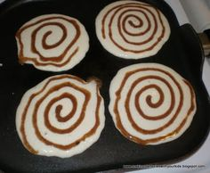 Twist on regular pancakes! Cinnamon roll pancakes... Mix melted butter, brown sugar and cinnamon, put in a squeeze bottle and squirt onto pancake batter on the griddle.