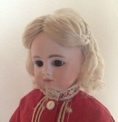 Hand-wefted mohair wig with side braids pulled back. DSB doll wig.