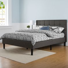Priage Upholstered Square Stitched Platform Bed with Wooden Slats-King - 17345787 - Overstock.com Shopping - Great Deals on Priage Beds