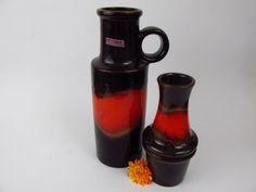 Vintage Keramik Vasen-Set / orange und braun / Scheurich / 209 18 und 401 28 | West German Pottery | 60er von ShabbRockRepublic auf Etsy