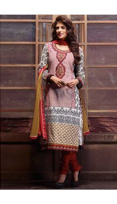 Maroon Black Cotton Churidar Suit with Beige Chiffon Dupatta - DMV13297