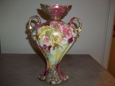 Nippon Vase with Painted Pearl Beading and Roses