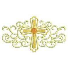 Sweet Heirloom Embroidery Design: Heirloom Cross Border 2.76 inches H x 4.94 inches W