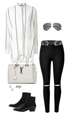 """Untitled #2209"" by andreagm ❤ liked on Polyvore featuring Bassike, ASOS, MANGO and Yves Saint Laurent"