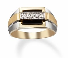 Men's Rings with Black Onyx and Diamonds in 14k Two Tone Gold