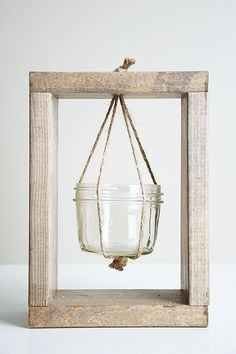 Image of Large Coconut Planter in Timber Hanging Frame Flower Planters, Hanging Planters, Macrame Projects, Wood Projects, Cheap Home Decor, Diy Home Decor, Wood Plank Art, Small Mason Jars, Cactus Decor
