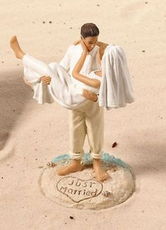 Beach Theme Cake Top for Destination Wedding Caucasian Couple Topper