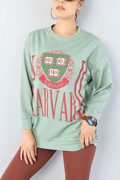 Yeşil Baskılı Bayan Sweat Tunik 75646 | ModamızBir | Modamizbir.Com