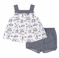 Florence Eiseman Infant Girls Navy Blue Nautical Print Bloomers Set