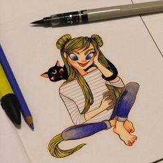 """Jour 23: J'ai été tellement influencée par Sailor Moon quand j'étais enfant, que je ne pouvais pas ne pas dessiner Usagi Tsukino ( dit """"Bunny"""") et Luna. Day 23: I was so influenced by Sailor Moon when I was a child, I could not not draw Usagi Tsukino and Luna. #inktober #frenchinktober #illustration #pentel #ink #promarker #pencil #sailormoon #fanart #bunny #luna  #NaokoTakeuchi"""