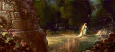 Painting over CG render from the framed portrait in the Queen's chamber at the beginning of Tangled.