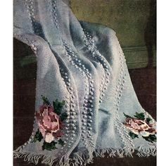 Rose Embroidered Crochet Afghan Pattern 51 x 68 inches