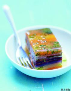 Recette Terrine de légumes confits : Allumez le four à th. 7/210°. Sortez 2 ou 3 plaques du four et tapissez-les de papier sulfurisé. Lavez les légumes. Co...