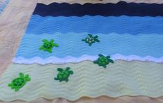 Sea turtle blanket. Applique pattern available here: http://www.ravelry.com/stores/everlaughter