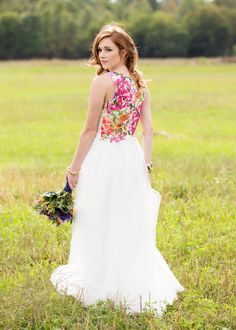 alternative wedding dress, all white with bright floral back