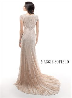 Bridal Gowns: Maggie Sottero Sheath Wedding Dress with V-Neck Neckline and Empire Waist Waistline Wedding Dresses 2014, Designer Wedding Gowns, Wedding Dress Styles, Bridal Dresses, Bridesmaid Dresses, Prom Dresses, Perfect Wedding Dress, One Shoulder Wedding Dress, Flannel Wedding