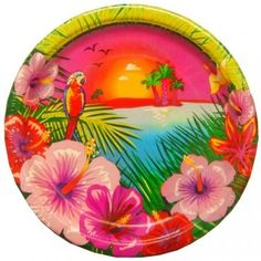 These Luau Party Paper Lunch Plates will hold plenty of Polynesian style yummies at your next tropical theme party. Each pack includes 8 brightly colored plates that measure 9 inches in diameter. Hawaiian Party Supplies, Hawaiian Luau Party, Tropical Party, Tropical Paradise, Party Napkins, Party Plates, Party Tableware, Dinner Plates, Dessert Plates