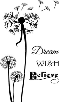 Dream Wish Believe Vinyl Wall Decals Silhouette Cameo Projects, Silhouette Design, Dandelion Wish, Dandelion Quotes, Cricut Explore Air, Vinyl Wall Decals, Wall Stickers, Wall Quotes, Vinyl Quotes