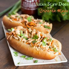 Asian Slaw Dogs with Sriracha Mayo | The Marvelous Misadventures of a Foodie