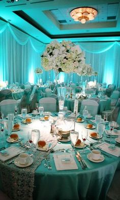 silver and tiffany blue wedding theme Soft blue lighting with white, blush, and green centerpieces blue www.discoverydeco… - silver and tiffany blue wedding theme Soft blue lighting with white, blush, and . Tiffany Blue Weddings, Tiffany Theme, Tiffany Party, Tiffany Wedding, Tiffany Blue Flowers, Aqua Wedding, Wedding Table, Wedding Colors, Wedding Day