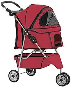 New Red Pet Stroller Cat Dog Cage 3 Wheels Stroller Travel Folding Carrier - Dog Store Cat Stroller, Travel Stroller, Large Dogs, Small Dogs, Dogs Online, Dog Cages, Dog Store, 3rd Wheel, Medium Dogs