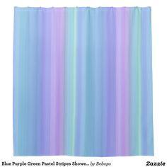 Blue Purple Green Pastel Stripes Shower Curtain