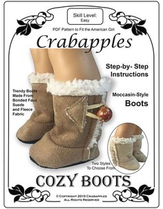 Crabapples Cozy Boots Doll Clothes Pattern 18 inch American Girl Dolls | Pixie Faire