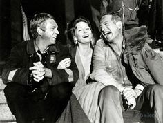Steve McQueen, Faye Dunaway, and Paul Newman on the set of The Towering Inferno.