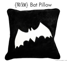 No Sew Bat Pillow, EASY Tutorial. Halloween crafts are always fun to do, especially when they are quick, easy, and involve no sewing. This is the perfect DIY no sew Halloween project idea.