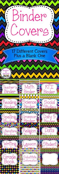 This Rainbow Binder set includes everything to help organize your binders. This set includes 17 binder covers: * Teacher's Binder * Math * RTI * Reading * Science * Social Studies * Grammar * Spelling * Daily 5 * Religion * Data * Literature * Writing * Lesson Plans * Grade Book * Student Information * Substitute Information * A blank one to make and add anything you want! =) Follow me on TPT for more exciting activities and FREEBIES!! All new products are 50% off for the first 24 hour...