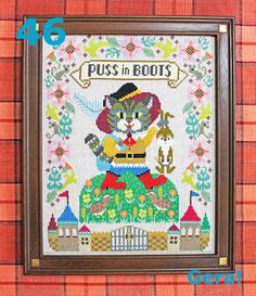 Puss in Boots cross stitch pattern by GERA! by Kyoko Maruoka Cross Stitch Embroidery, Cross Stitch Patterns, Pattern Quotes, Large Feathers, Needle Book, Floral Border, Farm Yard, Modern Cross Stitch, Cool Pets