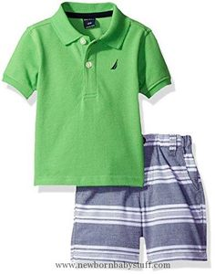 Baby Boy Clothes Nautica Baby Boys Solid Polo with Pattern Pull on Short Set,Leaf,18 Months