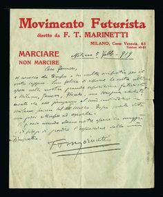 MARINETTI Filippo Tommaso, lettera autografa a Ferruccio Ferrazzi, 5 febbraio 1919