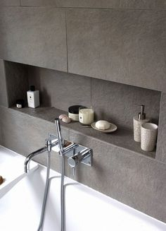 Insert shelves in the bathroom allow your cupboards to be de-cluttered. If styled nicely they can also create a lovely display.