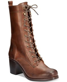 Frye Kendall Lace-Up Boots leather dark brown 8.25sh 2.75h sz7.5 358.00