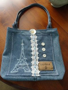 Bleach Pen + recycled denim = awesome bag - Eiffel tower