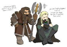 My Favorite Legolas and Gimli Fanart! Hobbit 3, Hobbit Hole, Lotr, Elf Sword, Legolas And Thranduil, Bagginshield, Sherlock, Chronicles Of Narnia, Jrr Tolkien