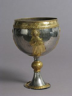 The Attarouthi Treasure - Chalice Date: 500–650 Geography: Made in Attarouthi, Syria Culture: Byzantine Medium: Silver and gilded silver Dimensions: Overall: 9 7/16 × 6 11/16 in., 12.6oz. (23.9 × 17 cm, 356g) Diam. of foot: 3 3/4 in. (9.5 cm) Diam. of knop: 1 5/8 in. (4.2 cm) Capacity of cup: 2100 ml Classification: Metalwork-Silver