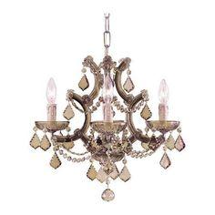 Crystorama 4474-AB-GTS Maria Theresa Golden Swarovski Strass Crystal Chandelier in Antique Brass