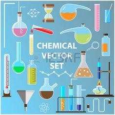 química: Conjunto de frascos de laboratorio.