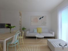 Salon w minimalistycznym stylu, minimalizm, vescom, tapeta, biel i drewno w salonie, Design, Living Room