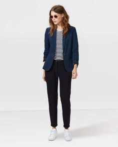 Slim fit blazer we fashion donkerblauw