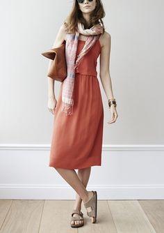 Trending for spring   silk slipdress + scarf & tote.